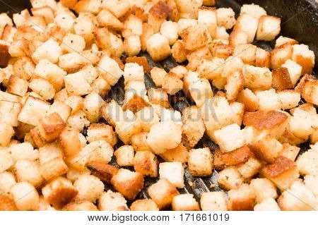 fried croutons of bread in the pan