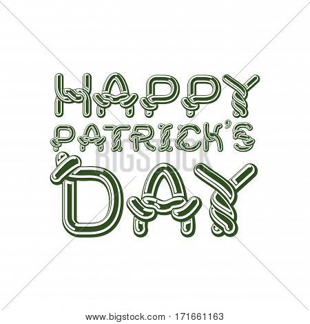 Happy Patrick's Day Lettering Emblem. Celtic Font Letters. National Holiday In Ireland. Traditional