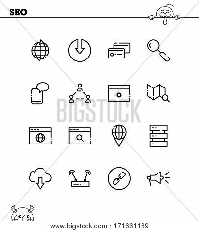 Seo flat icon set. Collection of high quality outline symbols for web design, mobile app. Seo vector thin line icons or logo.