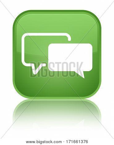 Testimonials Icon Shiny Soft Green Square Button