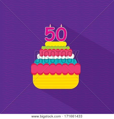 celebrate fifty anniversary greeting card design with cup cake
