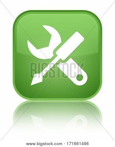 Settings Icon Shiny Soft Green Square Button