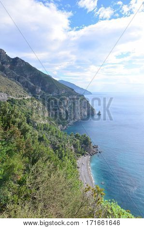 Beautiful Amalfi coast with the mediterranean and rolling hills.