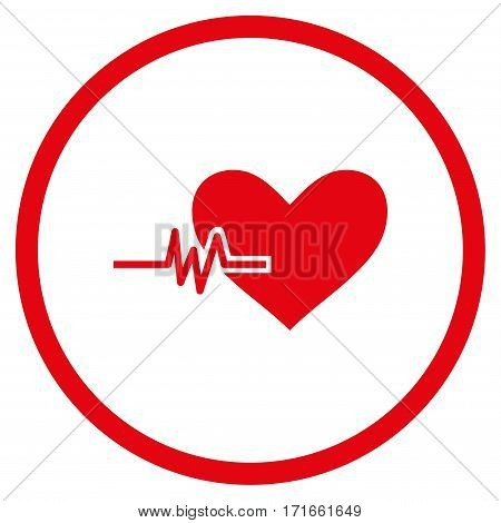 Heart Pulse rounded icon. Vector illustration style is flat iconic symbol inside circle, red color, white background.