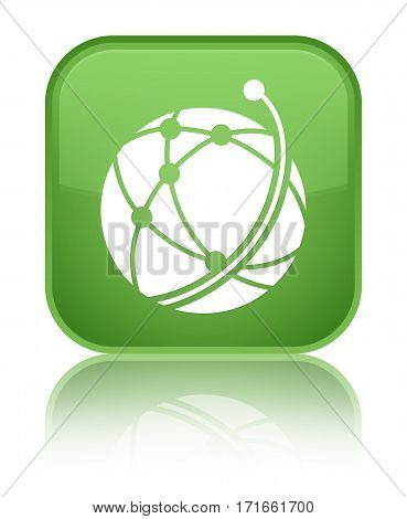 Global Network Icon Shiny Soft Green Square Button