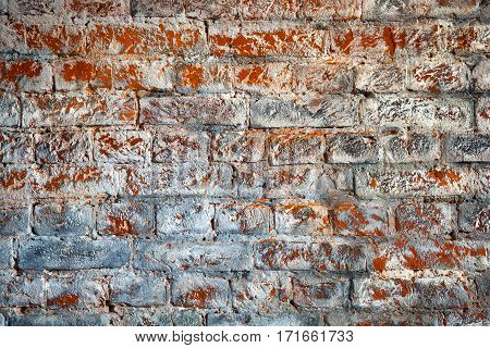 Design brick wall. Creative masonry - interior detail. Space for creativity and design