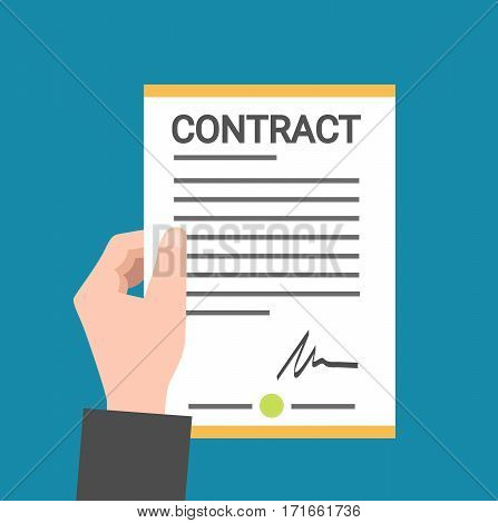 Hand holding contract business document concept flat vector stock
