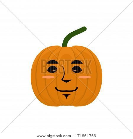 Pumpkin Sleeping Emoji. Halloween And Thanksgiving Day Vegetable Asleep Emotion Isolated