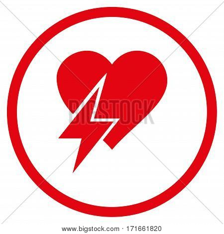 Heart Shock rounded icon. Vector illustration style is flat iconic symbol inside circle, red color, white background.