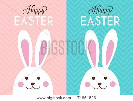 Happy easter bunny rabbit girl and boy design card cute greeting spring season illustration vector stock