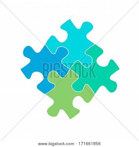 Puzzle pieces jigsaw connection business sign symbol icon isolated vector stock
