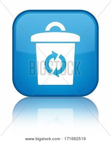Trash Icon Shiny Cyan Blue Square Button