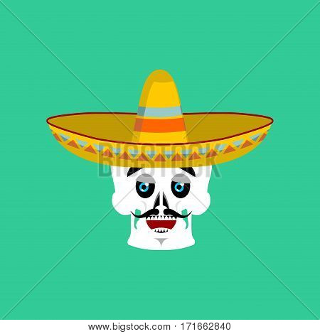 Skull In Sombrero Happy Emoji. Mexican Skeleton For Traditional Feast Day Of The Dead.
