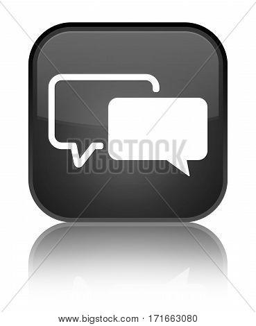 Testimonials Icon Shiny Black Square Button