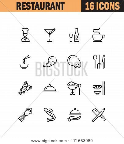 Restaurant flat icon set. Collection of high quality outline symbols for web design, mobile app. Restaurant vector thin line icons or logo.