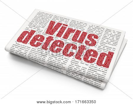 Protection concept: Pixelated red text Virus Detected on Newspaper background, 3D rendering