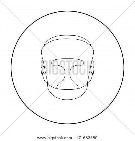 Boxing helmet icon in outline style isolated on white background. Boxing symbol vector illustration.