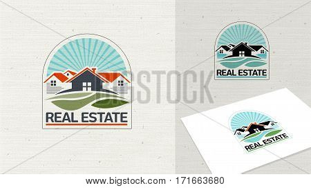 Real Estate logo template, House and grass design vector. Home sign concept and neighbor house logo. Easy editable for Your design.