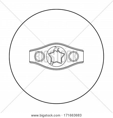 Boxing championship belt icon in outline style isolated on white background. Boxing symbol vector illustration.