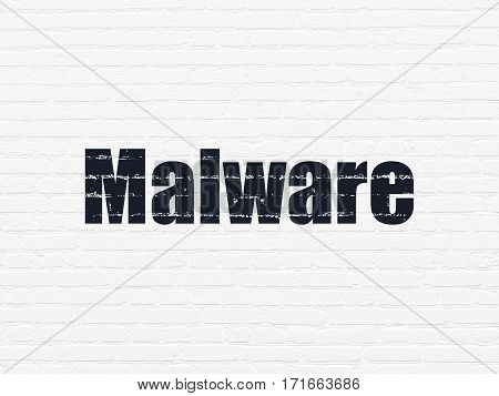 Privacy concept: Painted black text Malware on White Brick wall background