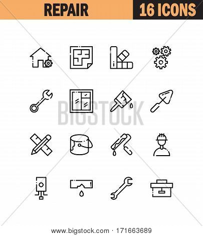 Repair flat icon set. Collection of high quality outline symbols for web design, mobile app. Repair vector thin line icons or logo.
