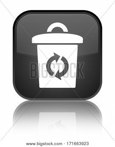 Trash Icon Shiny Black Square Button