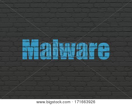 Security concept: Painted blue text Malware on Black Brick wall background