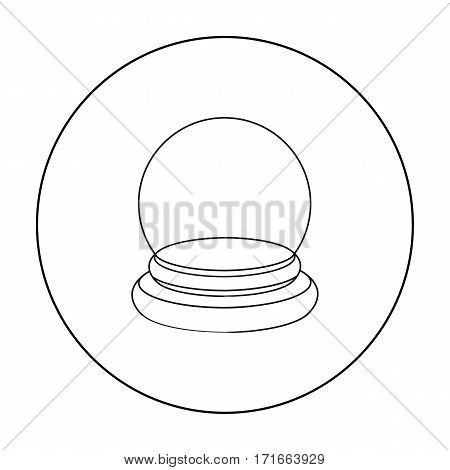 Crystal ball icon in outline style isolated on white background. Black and white magic symbol vector illustration.