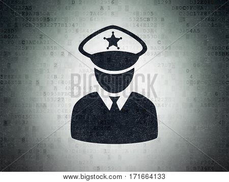 Safety concept: Painted black Police icon on Digital Data Paper background