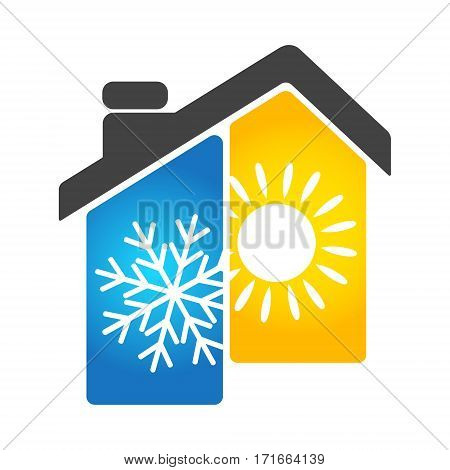 Air conditioning and heating the house symbol Business