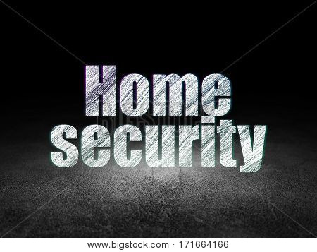 Protection concept: Glowing text Home Security in grunge dark room with Dirty Floor, black background