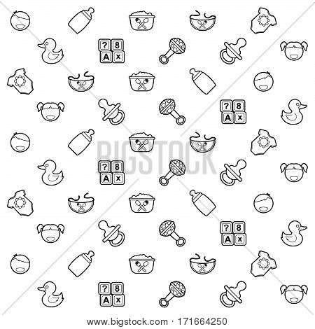 Collection of kids stuff icon set as seamless pattern