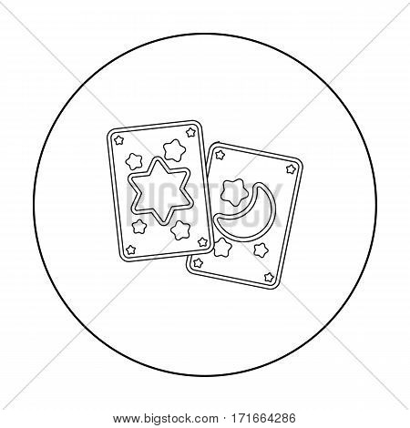 Tarot cards icon in outline style isolated on white background. Black and white magic symbol vector illustration.