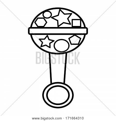 simple thin line baby rattle icon vector