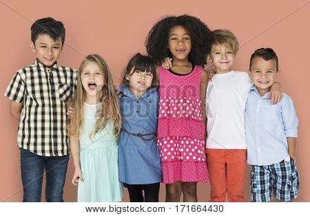 Group Children Friendship Happy Smiling Studio Portrait