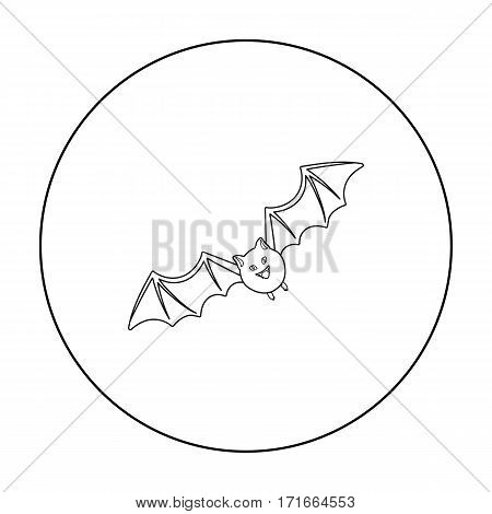 Bat icon in outline style isolated on white background. Black and white magic symbol vector illustration.