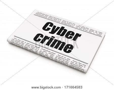 Security concept: newspaper headline Cyber Crime on White background, 3D rendering