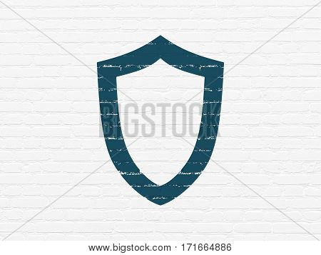 Security concept: Painted blue Contoured Shield icon on White Brick wall background