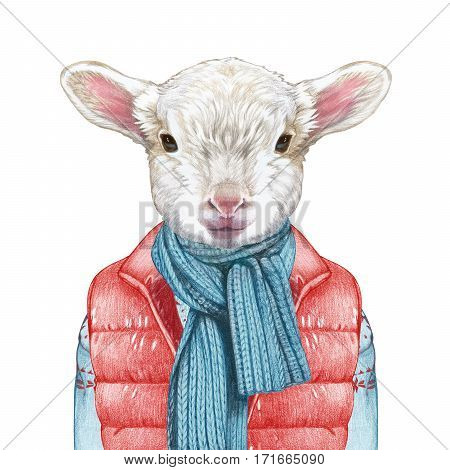 Animals as a human. Lamb in down vest, sweater and scarf. Hand-drawn illustration, digitally colored.