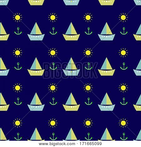 kids seamless pattern cartoon sailboat, boat, sun, anchor blue background vector illustration