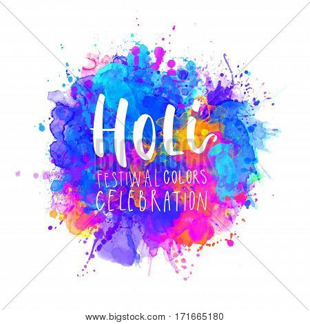 Watercolor Happy Holi and Dolyatra celebration card. Invitation card in vector.
