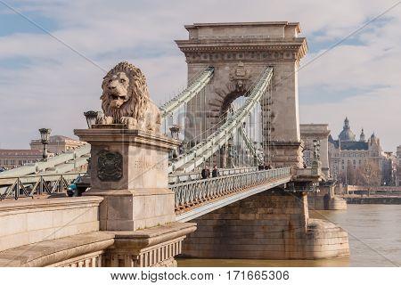 The Szechenyi Chain Bridge On The River Danube In Budapest, Hungary