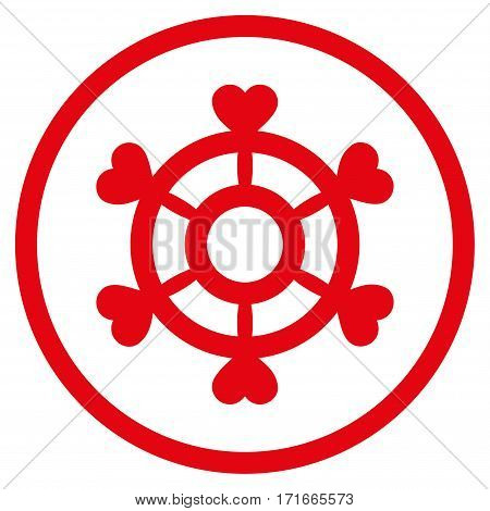 Lovely Boat Steering Wheel rounded icon. Vector illustration style is flat iconic symbol inside circle, red color, white background.