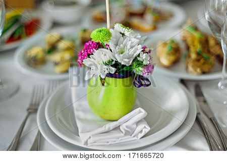 Beautifully Decorated Catering Banquet Table With Burgers, Profiteroles, Salads And Cold Snacks. Var