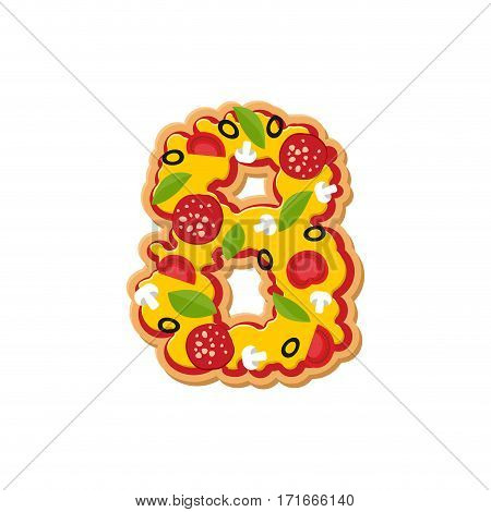 Number 8 Pizza Font. Italian Meal Alphabet Numeral Eight. Lettring Fast Food