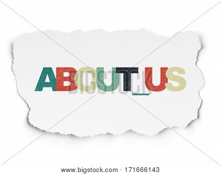 Business concept: Painted multicolor text About us on Torn Paper background