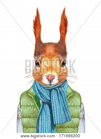 Animals as a human. Squirrel in down vest, sweater and scarf. Hand-drawn illustration, digitally colored.