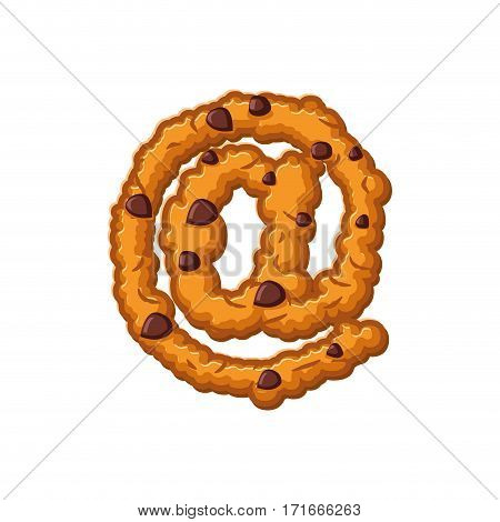 E-mail Sign Letter Cookies. Cookie Font. Oatmeal Biscuit Alphabet Symbol. Food Sign Abc