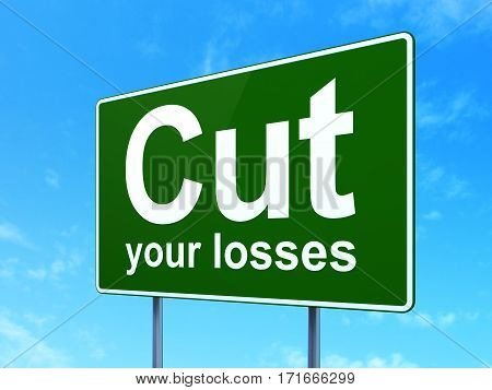 Business concept: Cut Your losses on green road highway sign, clear blue sky background, 3D rendering