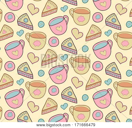 Cute morning vector seamless pattern with cake, heart, cup. Breakfast, lunch background